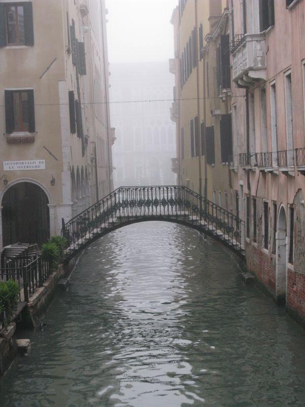 Venice bridge foggy