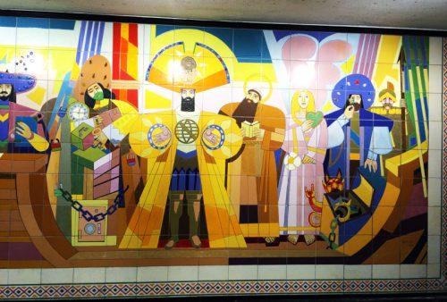 Lisbon Metro_Restauradores_mural detail
